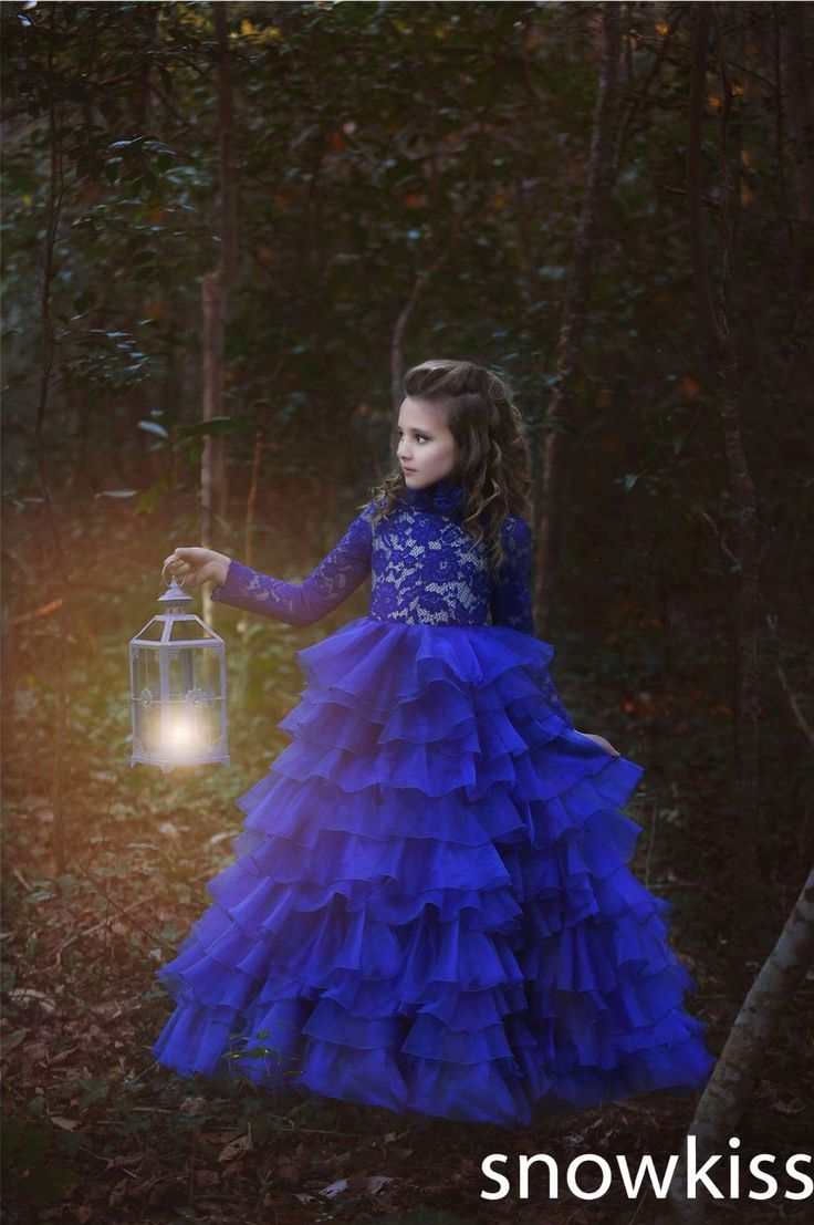 Find More Dresses Information about Custom long blue lace full sleeves flower girl dresses beautiful tiered first communion kids pageant glitz prom ball gowns,High Quality dress epaulettes,China dresses infants Suppliers, Cheap gown kids from snowkiss on Aliexpress.com