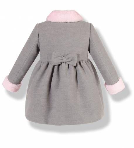 Precioso abrigo infantil de paño gris con cuello y puños en pelo rosa para niña