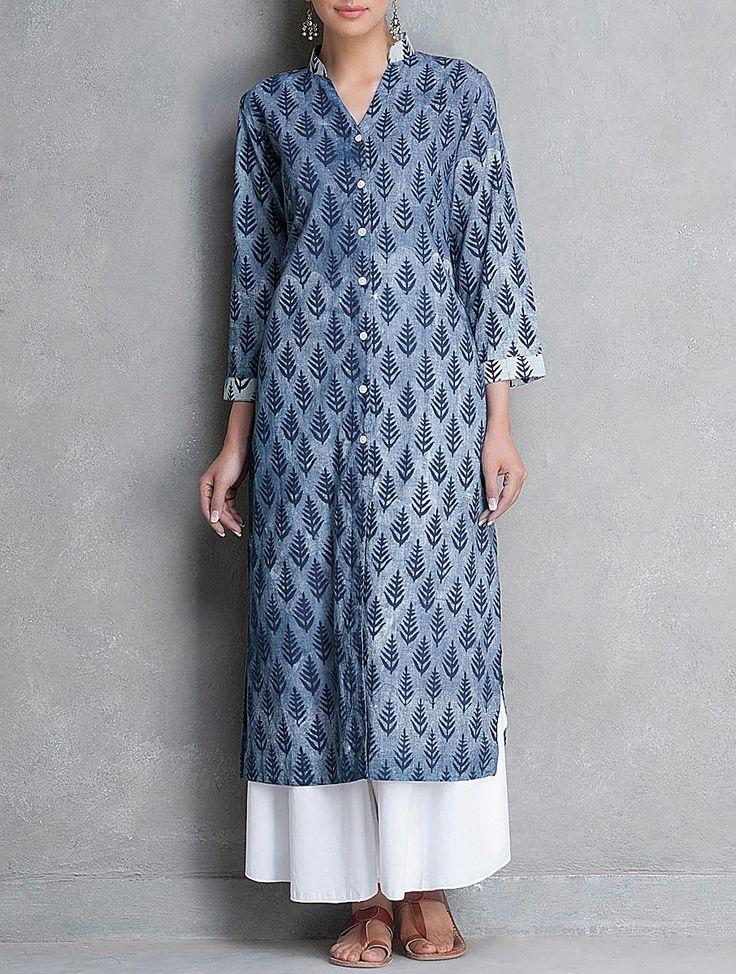 Buy Indigo Mandarin Collar Button Down Dabu Printed Cotton Kurta by Lavanya Apparel Tunics & Kurtas The Story Pants Palazzos Online at Jaypore.com