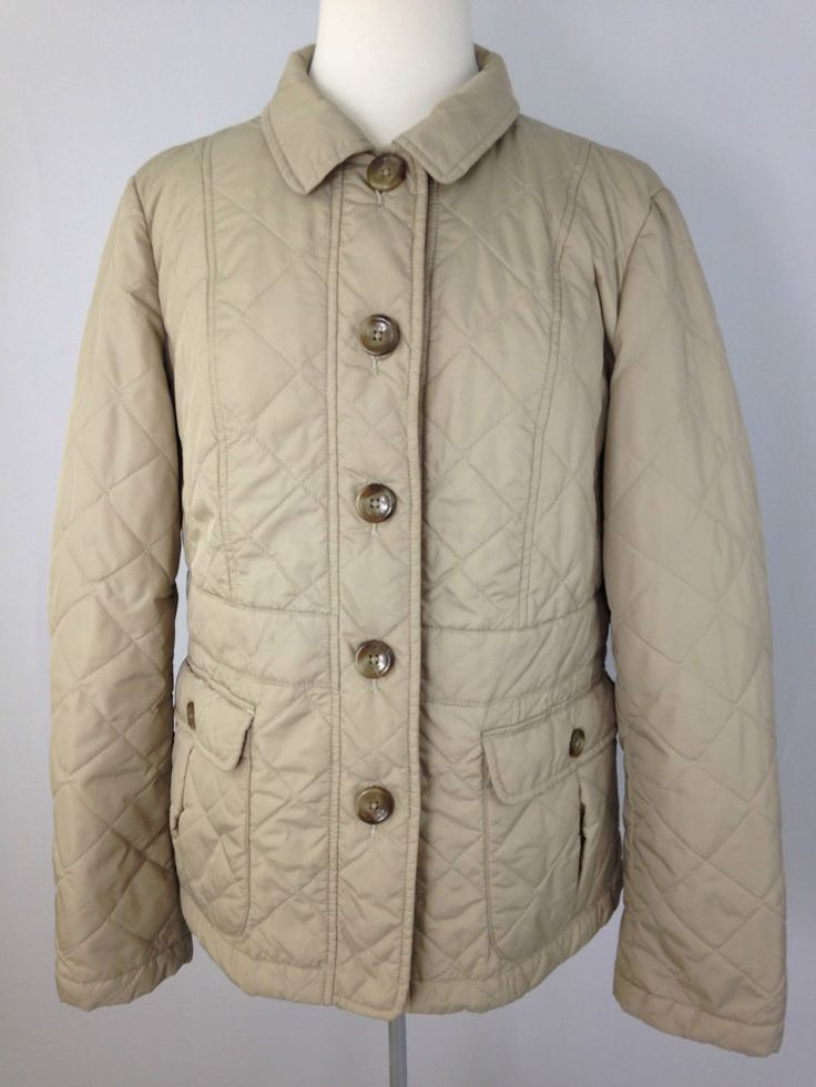 Lands End Womens Large Light Weight Quilted Jacket Coat