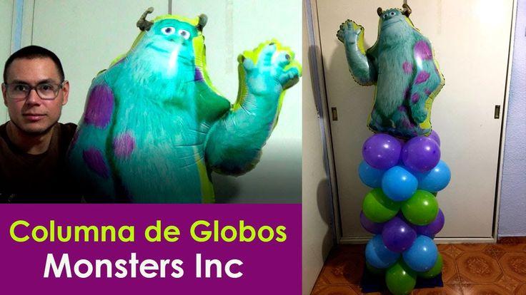 decoración columna de globos fiesta monsters inc
