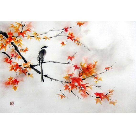 fleurs peinture et photo | peinture à l'encre Suibokuga Sumi-e fleurs et oiseaux peinture ...
