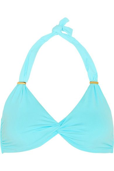 Melissa Odabash - Africa Twist-front Bikini Top - Turquoise - UK10