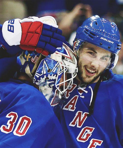 Henrik Lundqvist & Derick Brassard • New York Rangers • Source: matszuccarello.tumblr.com