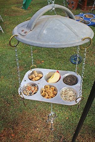 Rescue and recycle old muffin and cupcake pans into a buffet for the birds. Use an old metal trash can lid as a roof, use chains to hang to...