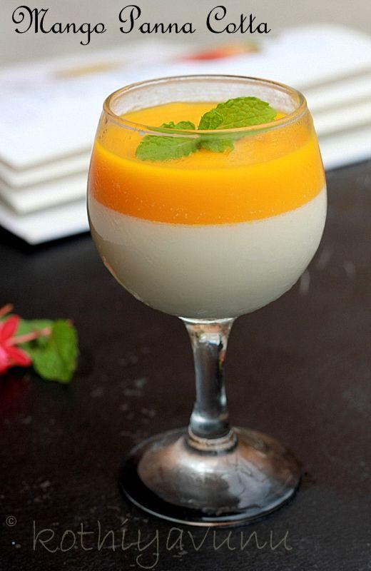 Mango Panna Cotta For Pannacotta : Heavy Cream : 1 cup /240 ml Sugar : 1 tbsp /15 grms (or to your taste) Milk/Half & Half  : 1 cup /240 ml