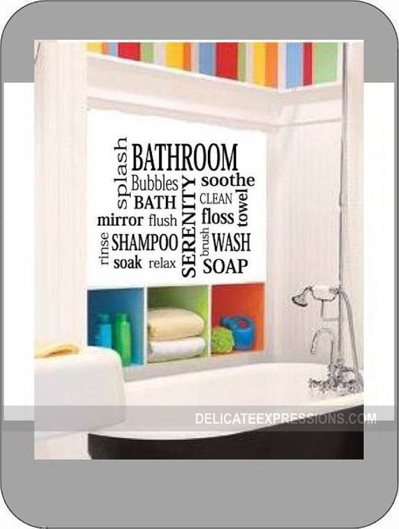 Bathroom Subway Art Vinyl Lettering Wall Decal. Available in various sizes and colors. What a great and inexpensive way to add a little color and fun to your bathroom.