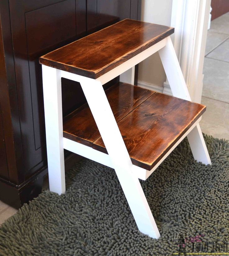 Give yourself a boost!  Build this simple DIY step stool for those hard to reach places.  Perfect kid step stool to wash hands.