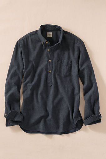 Men's Indigo Check Popover Shirt from Lands' End Canvas - $49