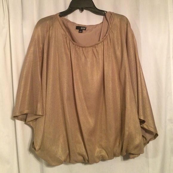 Gold batwing top Has sleeveless underlay so only sleeves are sheer. Never worn. a.n.a Tops Blouses