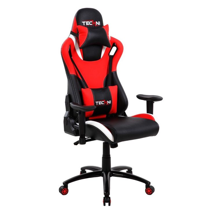 Ergonomic high back racer style video gaming chair red