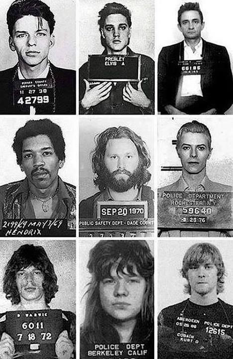 Police Mug shots: Frank Sinatra, Elvis Presley, Johnny Cash, Jimi Hendrix, Jim Morrison, David Bowie, Mick Jagger, Janis Joplin and Kurt Cobain.