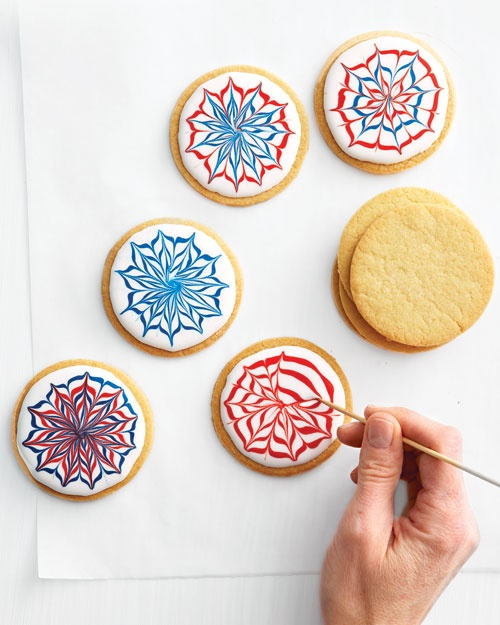 For maximum wow, vary the bursts' sizes and styles. We used sugar cookies, but any flat cookies will do. * Tools and Materials * Royal Icing in White, Red, and Blue * Plastic squeeze bottles or pastry bags * Fireworks Cookies * Toothpicks or skewers 1. Fireworks Cookie How-To 2. Place each colored icing in a separate plastic squeeze bottle; cut a small hole at the tip for w...