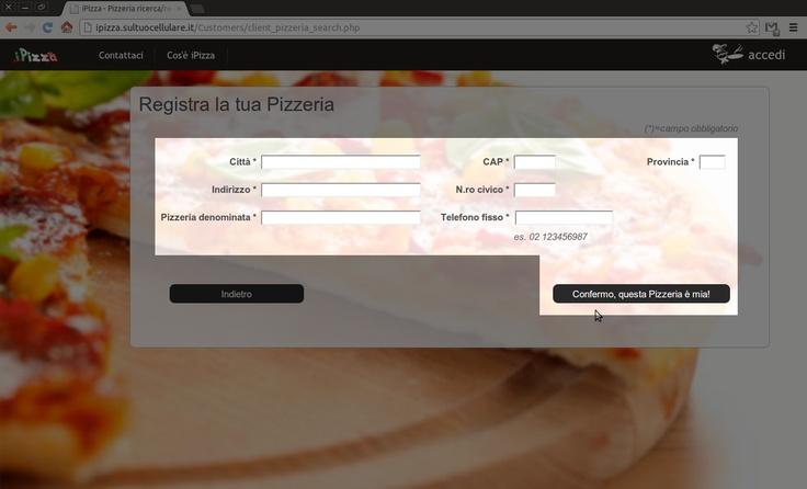 """2) Inserisci i dati del locale che vuoi associare a te. Se i dati sono gia' in iPizza ti saranno suggeriti durante l'inserimento!  Se invece stai definendo un nuovo locale o modificandone uno esistente non avrai suggerimenti. Al termine, in ogni caso, fai clic su """"Confermo, questa pizzeria e' mia!"""""""