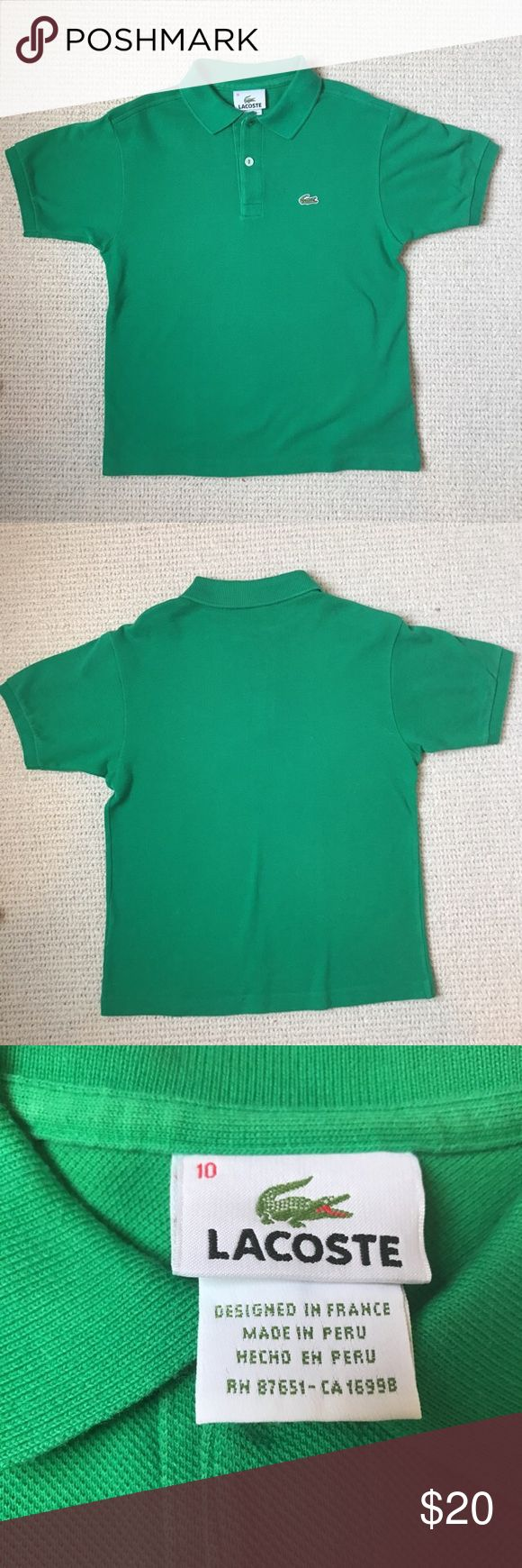 Youth Lacoste polo Like new green Lacoste Polo shirt, youth size 10. Lacoste Shirts & Tops Polos