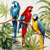 Three Parrots Oil Painting Canvas Wall Art $229.95