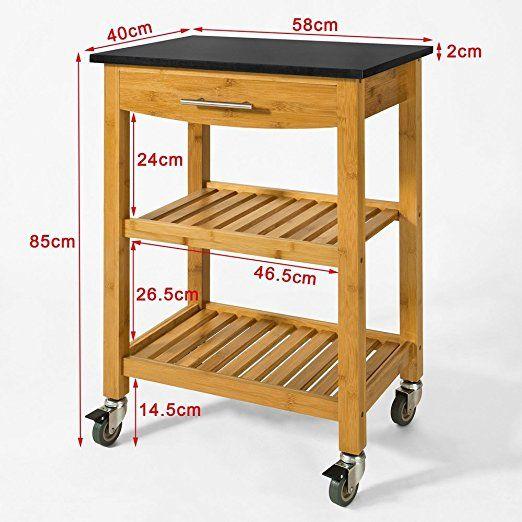 SoBuy® Servierwagen, Küchenwagen, Küchenregal Aus Bambus