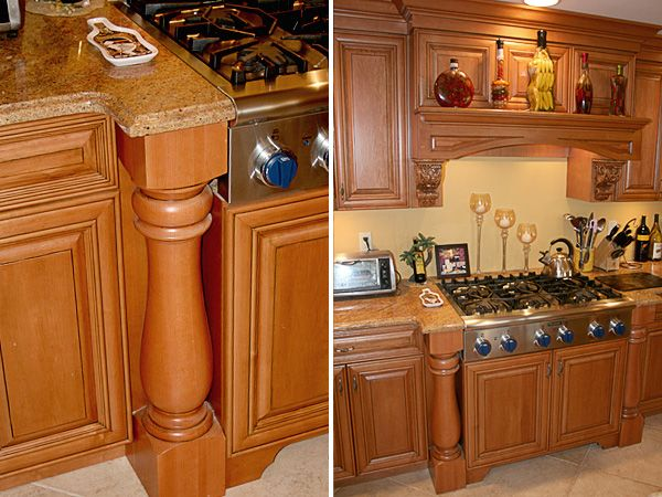 Wood Cabinet Columns   ... Here Are More Traditional Kitchen Cabinets With  Corbels And