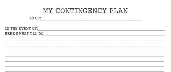 BuJo / Journal Printable  Contingency Plan by CASHEWCreations