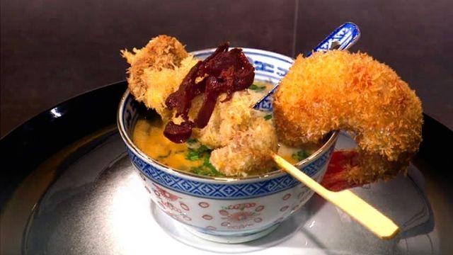"""- Plat unique / Viande / Poisson - Anne vous propose sa """"Soupe Thaï au lait de coco, brochette de canard et crevettes panées"""" inspirée de la recette de Valérie EJNER """"Aiguillettes de canard aux crevettes"""""""