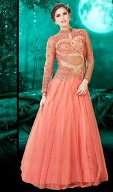 Gown, Net Fabric in Salmon Color Embroidered   #flaredgowns #plussizegownsindia Upfront your charm and elegance dolled up in this gown, net fabric in salmon color embroidered. This lovely attire is looking extra beautiful with embellishment of lace, resham and stones work.   USD $ 132 (Around £ 91 & Euro 100)