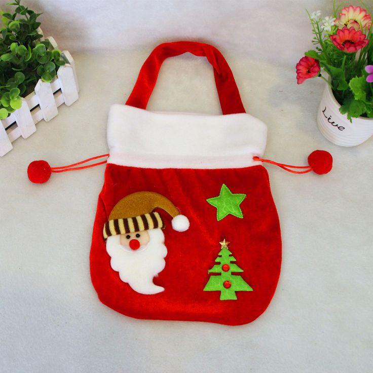 El nuevo alta calidad del terciopelo del oro navidad adornos de navidad de Santa Claus bolsas de dulces(China (Mainland))
