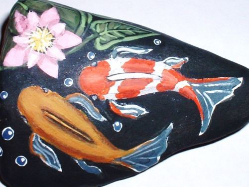 17 best images about painted rocks fish sea life on for Koi fish pond rocks