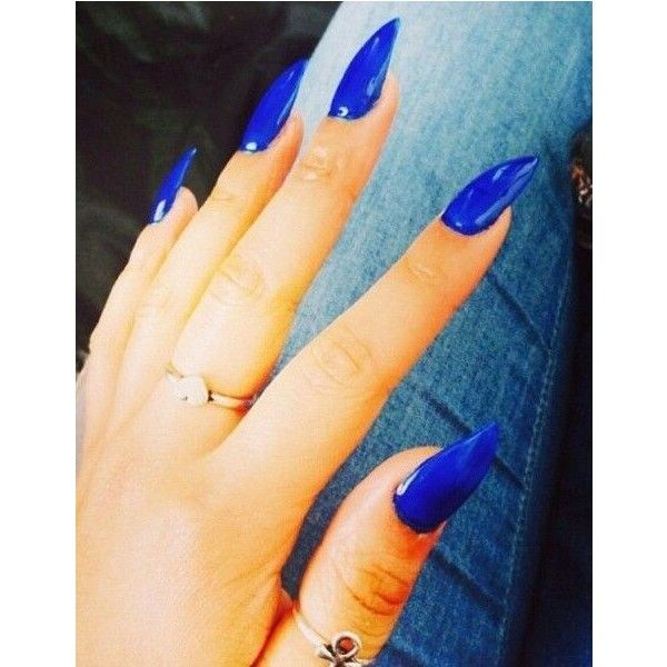 Blue Stiletto Nails! ❤ liked on Polyvore featuring beauty products, nail care, nail treatments, nails, nail polish and makeup