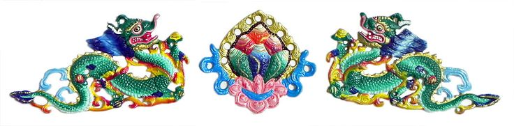 Two Green Dragon with Flower in the Middle - Wall Hanging (White metal)
