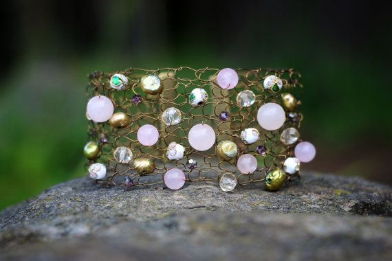 Metallic Brass Knitted Wire Bracelet With Rose by nZuriArtDesigns