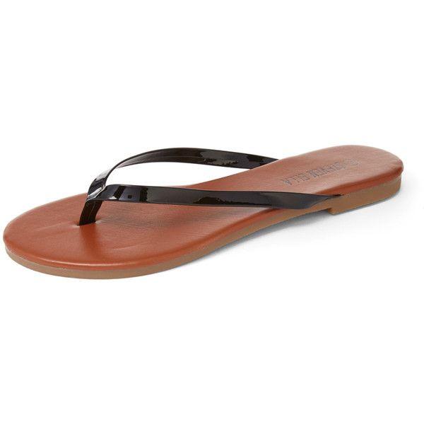 STEVEN ELLA INC Black & Camel Flip-Flop (€5,26) ❤ liked on Polyvore featuring shoes, sandals, flip flops, kohl shoes, black flip flops, black shoes, black sandals and camel sandals