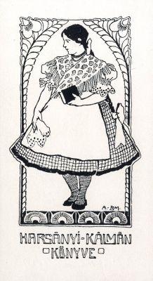 Ex libris by  Mariska Balló (Hun)(1885-1956) for Harsányi Kálmán, 1910c.
