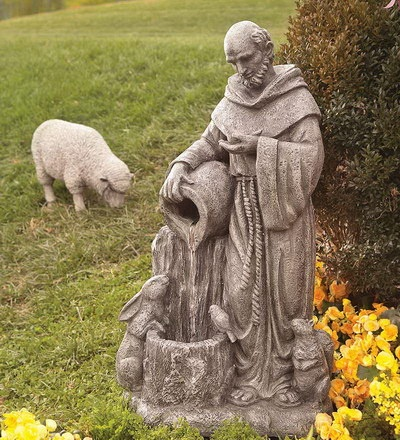 Saint Francis Fountain, Patron Saint of Animals...St. Francis of Assisi had a loving relationship with all animals. When a ferocious wolf disturbed the peace, he searched the woods for him. He blessed the wolf, and asked him to cause no more harm. And the wolf agreed. One of the saint's most famous sermons is one he gave to birds. As people watched, he told the birds about God, blessing them as he spoke. His message was simple, love your Creator, love each other!