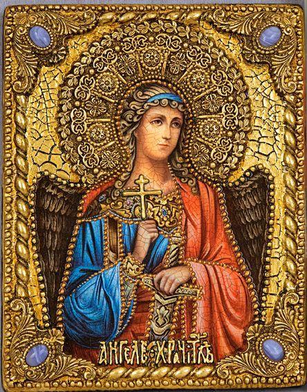 """Икона """"Ангел Хранитель"""" 18 х 23 см, роспись по дереву, серебро, самоцветы"""