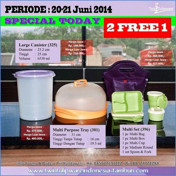 Promo 2 Free 1 Tulipware 20-21  Juni 2014 : Large Canister | Multi Purpose Tray | Multi Set
