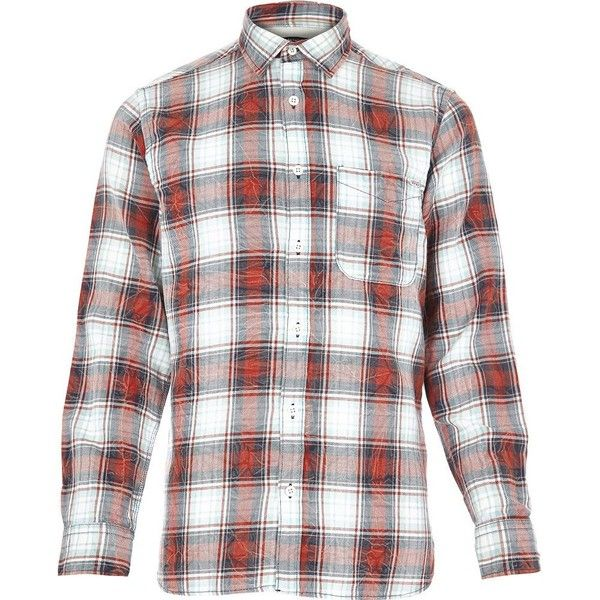 Red Jack and Jones Vintage check shirt (1.280 RUB) ❤ liked on Polyvore featuring men's fashion, men's clothing, men's shirts, men's casual shirts, sale, mens checkered shirts, mens red shirt, mens red checked shirt and mens checked shirts
