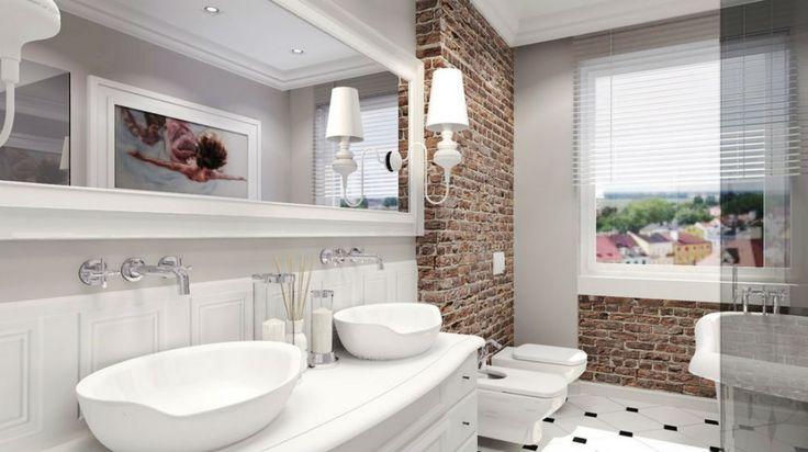 Cegła klinkierowa w łazience, projekt łazienki Agata Ahn Architektura Wnętrz