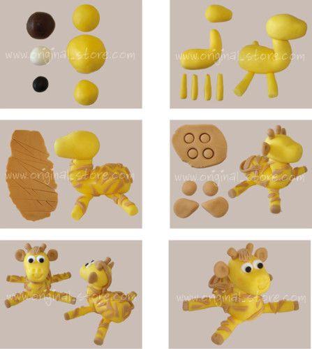 Modeler une girafe en pâte à sucre