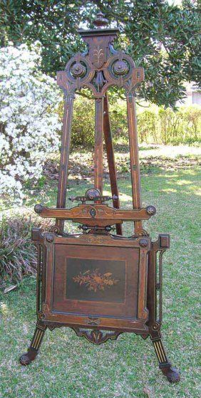 153: Victorian Portfolio Easel w/Incised Carving & Inla : Lot 153