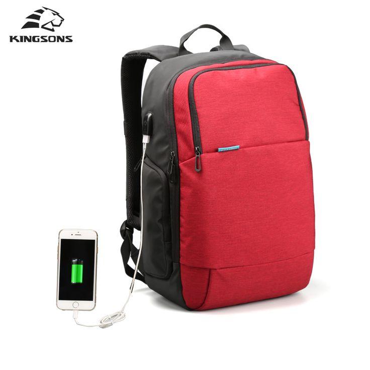 Kingsons de la marca 2017 de la nueva llegada mochila de viaje antirrobo cargo usb externo portátil bolso de la computadora de 15.6 pulgadas para los hombres mujeres