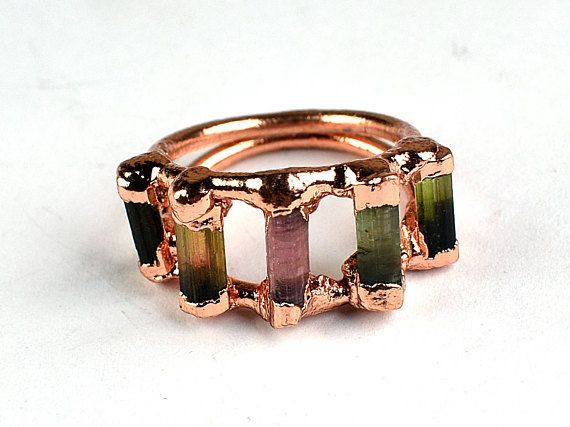 Multi stone ring   Multi Tourmaline Baguette Ring for women GFS2045 Ring for her Electroplated ring All sizes available