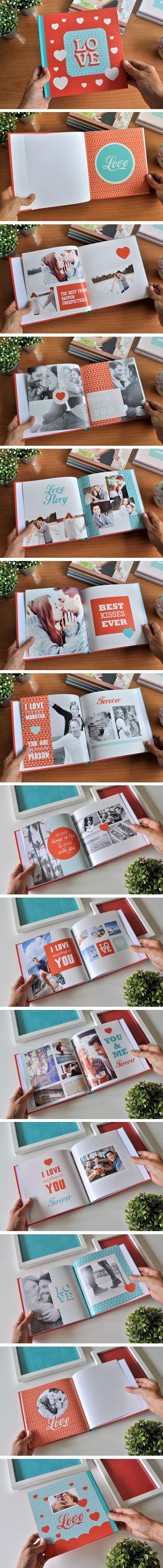 """""""Love"""" es un fotolibro ideal para hacer un regalo original para San Valentín, Día de los Enamorados o Aniversarios. Está diseñado en formato 21 x 21 cm con tapa dura con 22 páginas y ya está listo para que puedas descargarlo y completarlo con tus propias fotos."""