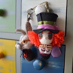 童話シリーズ★羊毛フェルト【マッドハッターと三月ウサギ】再販☆8