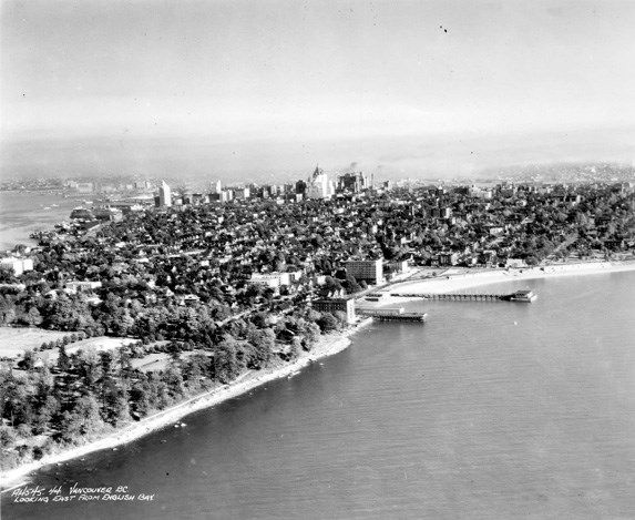This aerial view of Downtown Vancouver (looking east) was taken in the 1930s.