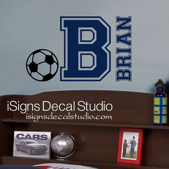 SOCCER WALL DECAL Custom Name Decal Kids by iSignsDecalStudio