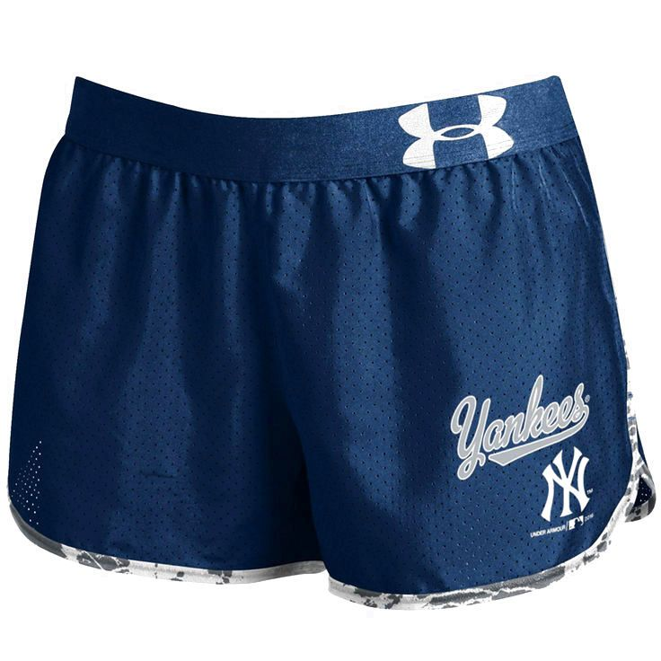 New York Yankees Under Armour Women's Tied Up Performance Running Shorts - Navy - $36.99