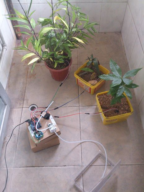 Another project where mositure sensors are used to trigger an automatic watering system, but this one uses a rotating pump to do the watering. http://youtu.be/dnnjD7KBEA8