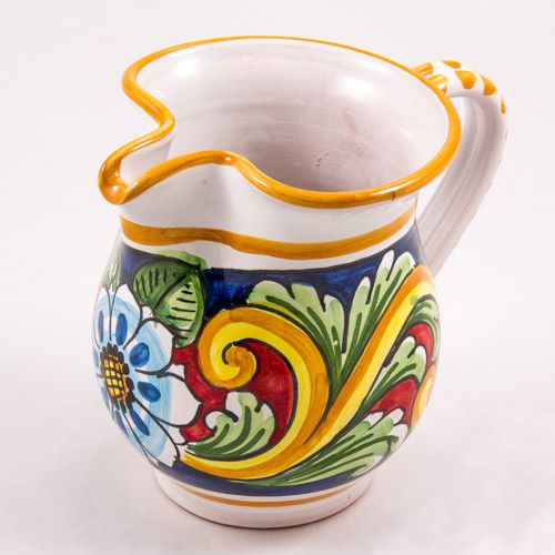 Miscellaneous: #Italy. Milk Jug from #Sicily. Blue Flower and Leafs. #Caltagirone #Ceramics. Hand Made. Volume 0.25L