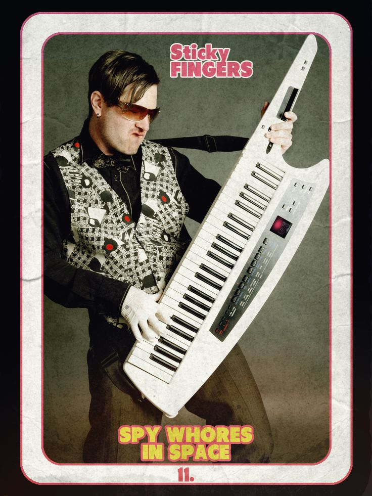 Keytar player by night, gynecologist by day, Sticky Fingers knows how to tickle the ivories. #the80's, #tvtradingcard, #retro #campy