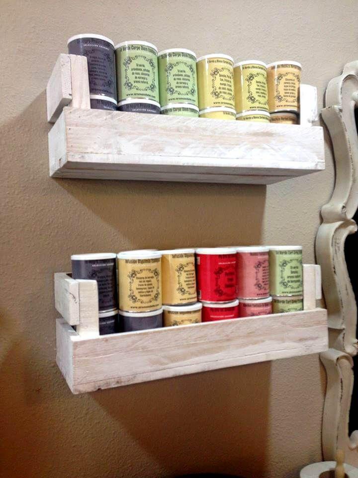 Reclaimed Pallet Shelves for Kitchen Diy pallets Pinterest